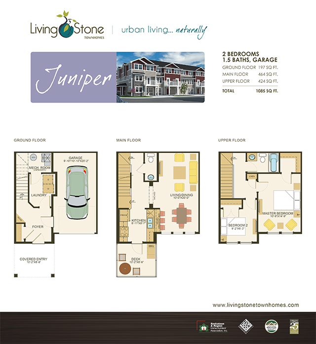 Living stone stonebridge new 2 bedroom townhome with for Juniper floor plan